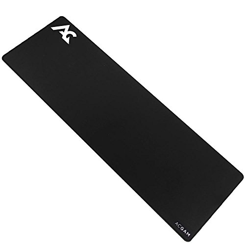 Acgam p07 xxl gaming mouse pad tappetino mouse gaming 900 mm x 300 mm x 4mm antiscivolo fondo in gomma con bordi cuciti anti-deformazione, base di gomma antiscivolo per pc e laptop- nero
