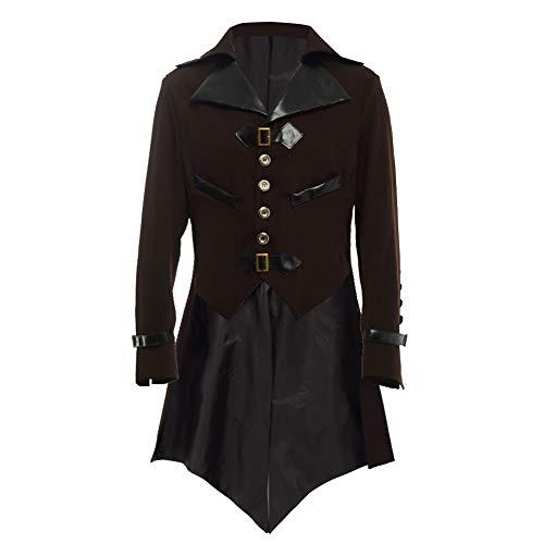 BLESSUME gotisch viktorianisch Frack Steampunk VTG Mantel Jacke Halloween Cosplay Kostüm (2XL, Braun) (Viktorianische Halloween-kostüme Gotische)