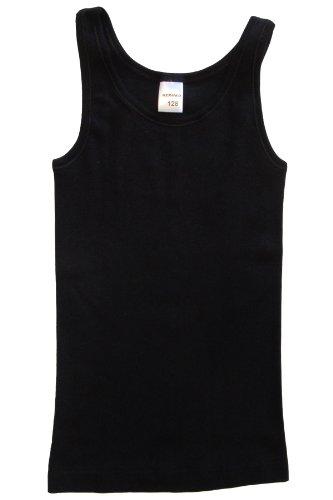 HERMKO 2000 Mädchen Unterhemd aus 100% Baumwolle, schadstoffgeprüftes Achselhemd, Tank Top made in EU, Farbe:schwarz, Größe:176 (100% Top Baumwolle)