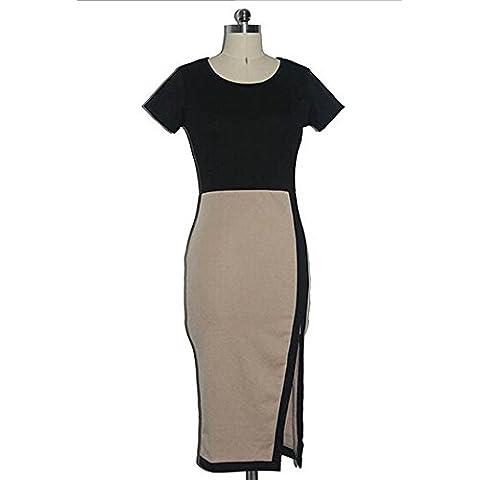 Possec Vestido de las mujeres del verano de manga corta del paquete de las nalgas de Split Falda atractiva Albaricoque