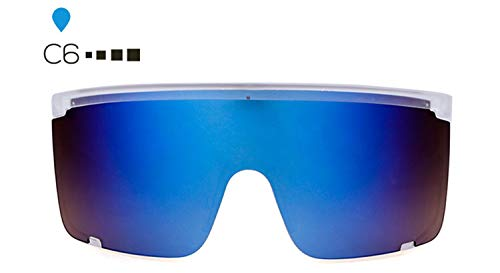 AOCCK Sonnenbrillen,Brillen, Designer Oversized Visor Shield Sunglasses Women Men Brand Hood Goggles Big Flat Top 90S Mask Sun Glasses Shades SP144 C6