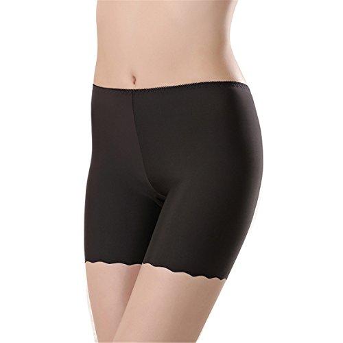 Pantaloncini Da Boxe Elasticizzati Da Donna A Vita Alta In Cotone ECYC® Plus Size A02: Nero