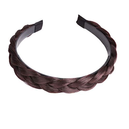 Qinlee Haarreifen mit geflochtenem Zopf Haarteil Haarband Kopfschmuck Haarschmuck Synthetische Frauen Verdrehte Perücke Braid Zöpfchenfrisur Band-Mädchen-Haarreif Stirnband-dunkelbraun -