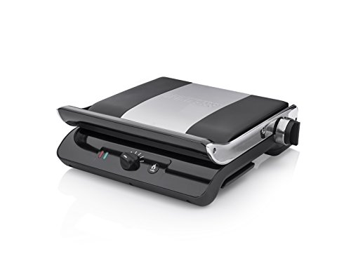 Princess 117205 Panini Grill Comfort Pro Parrilla con función Turbo, Tapa Flotante y termostato Regulable, 2000 W, Plancha, Negro, Plata
