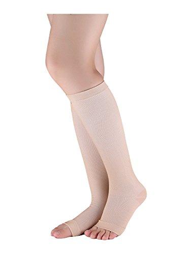 sourcingmap® Unisex Atmungsaktiv Einheitsgröße zehenlos Kompression Knie Hoch Socken Beige