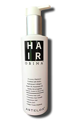 HairobinaTM Hair Growth Stimulator & Hairfall Prevention DHT Blocker Shampoo | Infused with Biotin, Raw Argan Oil, Rosemary Oil, Hydrolysed Marine Collagen & Arginine | Sulphate & Paraben Free