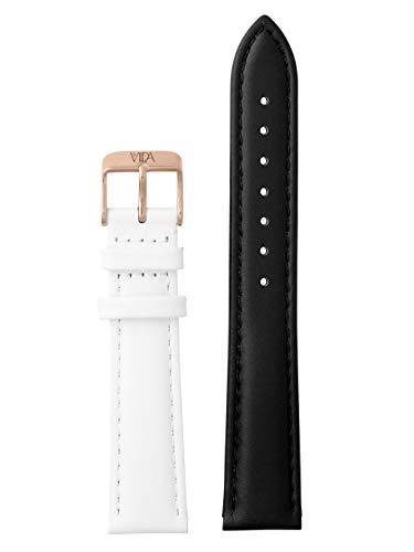 laVIIDA Uhrband LB-SVI2019R Ersatzband Uhrenarmband Leder 18 mm Schwarz-Weiß-Rosé