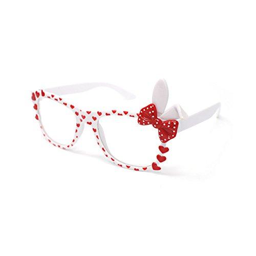 UltraByEasyPeasyStore Ultra ® Weiß Kinder Bunny Herzbogen Stil Multi Color Dark Lens Klassische Rahmen Perfekt für Kostüme Parteien Brille Kids Nerds Geek Welttag Cosplay Kostüm - Geek Mädchen Kostüm