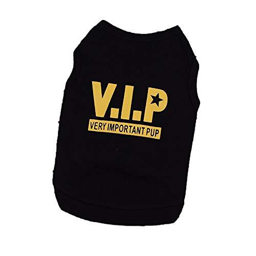 YWLINK Haustier Hunde Klassisch VIP Brief Drucken Weste Kleidung Baumwoll Sommer T-Shirt for Dog(Schwarz,M)