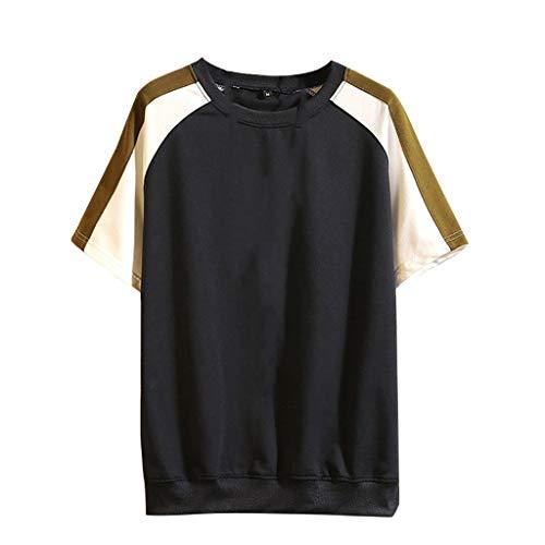 SuperSU-Herren tops ►▷ Mann zweifarbige Spleiß Beiläufige Kurzarm T-Shirt,Sommer Männer Lässiges Wild Einfach Locker Bluse Street Style Hip Hop Täglich T-Shirt Oberteil Sweatshirt