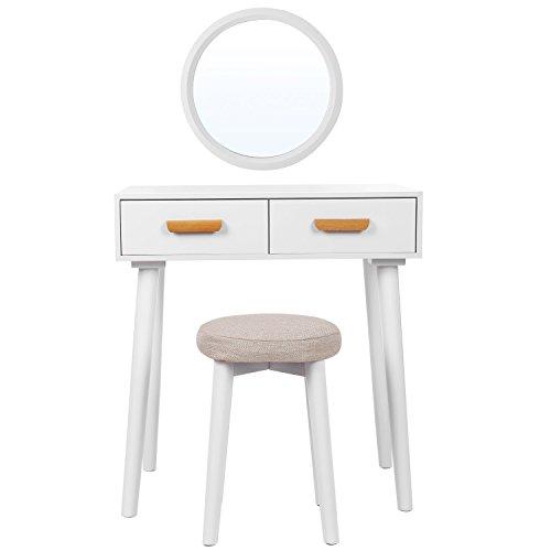 SONGMICS Tocador moderno con espejo de pared, taburete y 2 cajones, Tablero MDF, para Dormitorio y vestuario, Blanco, RDT40WT