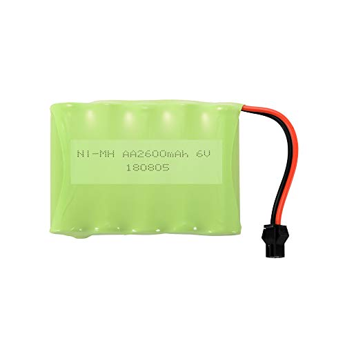 RC 6.0V 2600mAh AA NI-MH Rechargeable Flat/Flat Battery Pack with SM Port USB Charger Cable for RC Futaba Hitec JR Nimh Flat-pack