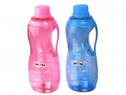 Nayasa Superplast Hilton Plastic Water Bottle Set, 1.5 litres, Set of 2, Blue and Pink