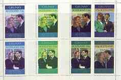 Grunay 1986 Royal Wedding perf shtlet of 4 opt'd Duke & Duchess of York in gold, the set of 3 progressive proofs ROYALTY ANDREW FERGIE JANDRSTAMPS (37589)