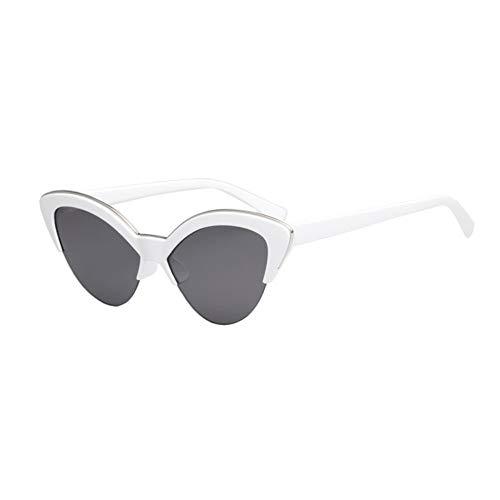 MJDABAOFA Sonnenbrillen,Cat Eye Sonnenbrille Weibliche Designer Cateye Gläser Für Frauen Weißer Rahmen Graue Linse Vintage Gradient Damen Brillen