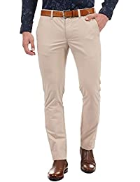 Indian Terrain Mens 4 Pocket Solid Trousers_Beige