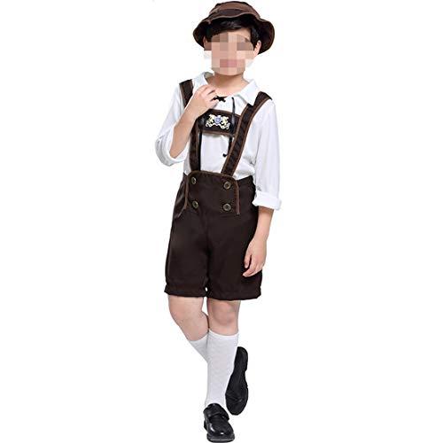 Kinder Kostüm Lederhosen - YKJ Kinder Jungen Halloween Oktoberfest Kostüme Lederhosen Shorts Hut mit Hemd Outfits Cosplay Fancy Dress Up Kleidung Weiß,As Shown-S