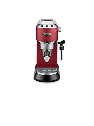 DeLonghi Dedica EC 685.R Espresso Siebträgermaschine | 15 bar |  Professionelle Milchschaum Düse | Schnelles Aufheizen  | Füllmenge 1 l | Vollmetallgehäuse | Temperaturkontrolle |  Auch für Pads geeignet | Rot