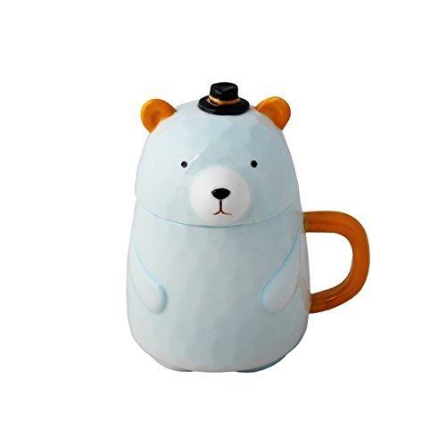UPSTYLE 3D Cute Cartoon Tier Porzellan Mini Bär Kaffee Milch Keramik Tee Tasse Becher mit Deckel und Griff für Tee, Wasser, Milch und Kaffee, ca. 400ml), A050 Hat