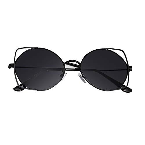 iCerber sonnenbrillen Süß Schöne Verspielt Sonnenbrille für Frauen, verspiegelte Metallrahmen-Sonnenbrille mit flachen Gläsern UV 400 ❀❀2019 Neu❀❀(Schwarz)