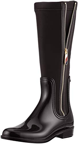 Tommy Hilfiger Damen Material Mix Long Rain Boot Hohe Stiefel
