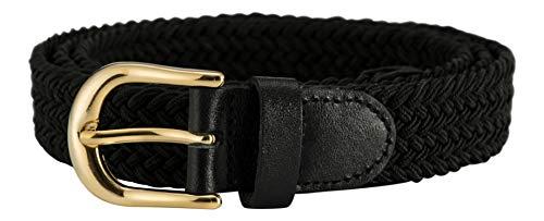 Streeze Damen elastischer geflochtener Stretchgürtel. 25 mm Breite gewebt mit Goldschnalle 5 Größen XS - XL (Schwarz, M)