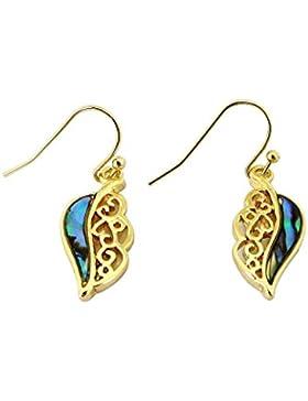 Paua / Abalone Muschel Goldene Blätter Ohrstecker Ohrringe aus Neuseeland