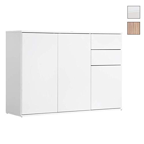 mokebo® Kommode 'Die Elegante' Sideboard, Highboard, Made in Germany, klimaneutraler Versand, Einzeln, Weiß -11