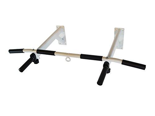 MAXOfit® Klimmzug-Stange MF-23 Pull-Up | Wandmontage | bis 120 kg | Rutschfeste Griffe | 3 Ösen für zusätzliche Befestigungen