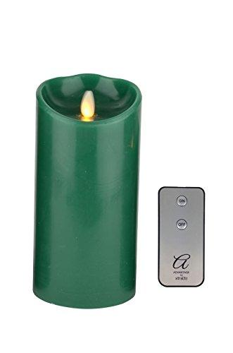Ventaja reproducción de la llama LED vela + mando a distancia, verde–tamaño mediano, cera, Verde, Medium - 180mm (7'')