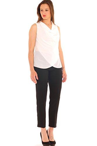 Pantalone capri donna in cady con strass taglia morbida Nero