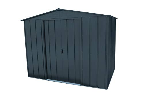 Duramax TOP 8' x 6 Outdoor Storage Made of Hot-Dipped Galvanized Steel   Strong Reinforced Roof Structure   Maintenance-Free & Weatherproof Metal Garden Shed   All Anthracite