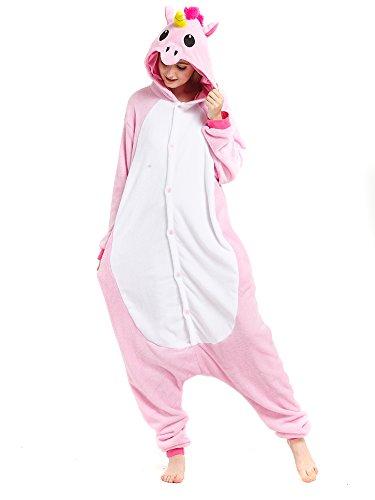 einhorn kigurumi Kigurumi Rosa Einhorn Pyjamas Kostüm Jumpsuit Tier Schlafanzug Erwachsene Unicorn Fasching Cosplay Onesie S