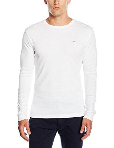 Hilfiger Denim Herren Langarmshirt, Gr. Large, Weiß (CLASSIC WHITE 100) (Knit Pullover Rib)