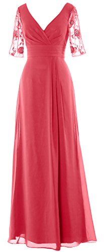 MACloth Women Half Sleeves Long Mother of the Bride Dress V Neck Formal Gown Wassermelone