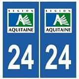 Autocollant plaque immatriculation auto département 24 Dordogne