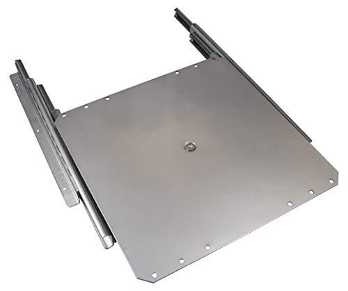 Gedotec TV-Drehteller Fernseh-Auszug drehbar zum Schrauben an Fachboden | Schrankauszug Tragkraft 50 kg | Vollauszug mit Drehplatte silber | Auszugslänge 335 mm | 1 Stück - Auszug für Flachbildschirm