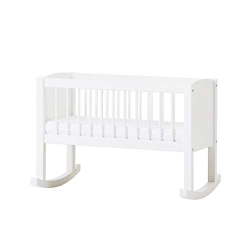 Hoppekids Wiege/Bank umbaubar zur Sitzbank, Kiefer massiv/MDF, Liegefläche 80 x 40 cm, Holz, weiß, 86 x 47 x 62 cm -