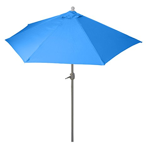 Mendler Parasol Parla en alu, hémicycle, Parasol de Balcon UV 50+ ~ 300cm Bleu avec Pied
