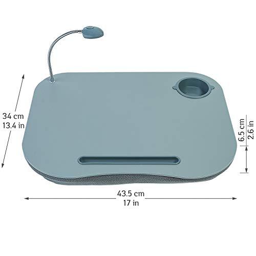 Tatkraft Patrik Laptopkissen Knietisch mit LED Licht und Becherhalter, Grau