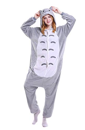 Zeichentrickfiguren Totoro Doraemon Schwarze Katze Cheshire Cat Cheese Cat Tom Onesie Kigurumi Pyjama Karneval Kostüm Maskenkostüm Kapuzenpulli Schlafanzüge (Totoro, S(Height - Totoro Kigurumi Kostüm