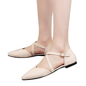 TianWlio Ballerinas Damen Frühling Herbst Mode Schnalle Flats Schuhe Spitze Schlüpfen Single Schuhe Black Beige 35-40