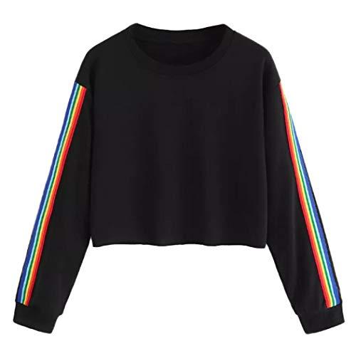Bluse Damen Julywe Damen Long Ärmel Rainbow Patchwork Schwarz O Neck Sweatshirt Bluse Pullover Top Casual Hübsch