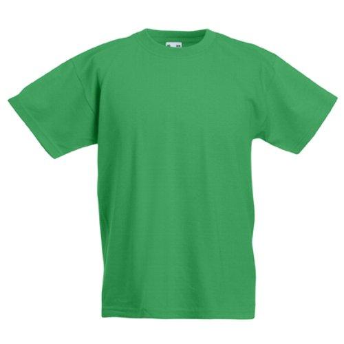 Fruit of the Loom Childrens T-Shirt - Kelly Grün 3/4 (Sleeve Neck 3/4 Tee)