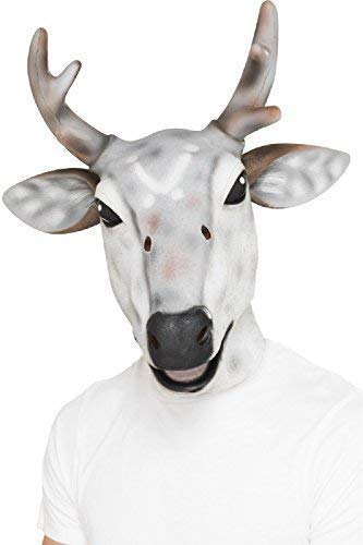 Fancy Me Herren Damen Grau Rentier Hirsch Latex Maske Weihnachten Festlich Neuheit Junggesellenabschied Tier Kostüm Kleid Outfit