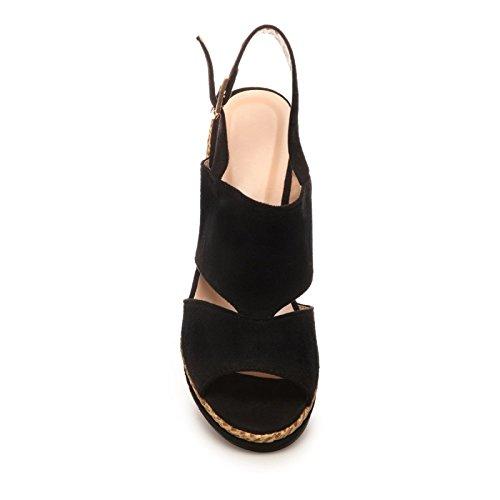 La Modeuse - Sandales en simili daim à talon compensées Bride à boucle Noir