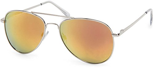 styleBREAKER Sonnenbrille verspiegelt, Pilotenbrille getönt mit Federscharnier, Unisex 09020037, Farbe:Gestell Silber/Glas Orange-Rot