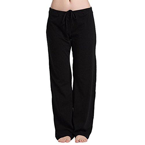 OSYARD Damen Dehnbarer Elastischer Weicher Sitz Beiläufiger Schlaf Yoga Tägliche Pyjama Knöchel Länge Hosen Feste Hose(EU 38 / M, Schwarz) -