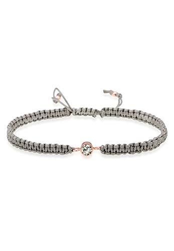 Elli Damen-Armband Knoten Textil- Solitär 925 Silber Kristall grau 16 cm - 0205661217_16