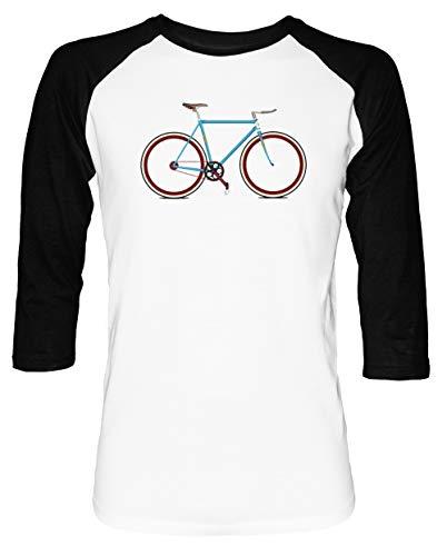 Fahrrad Herren Damen Unisex Baseball T-Shirt Weiß Schwarz 2/3 Ärmel Women's Men's Unisex -